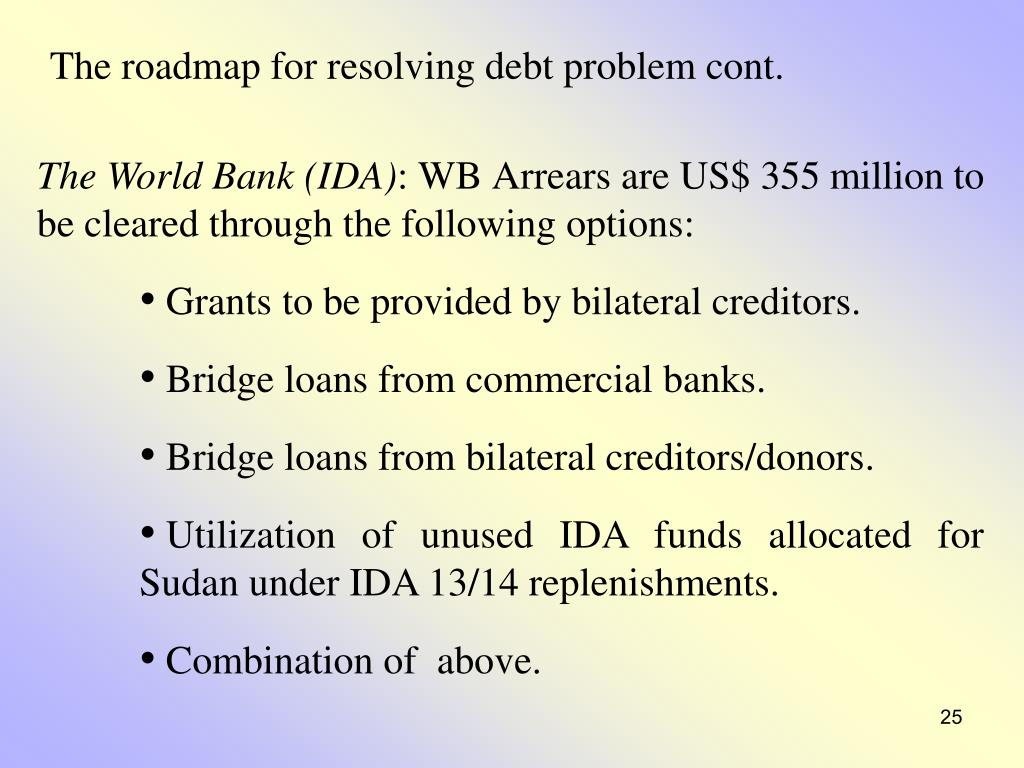 The roadmap for resolving debt problem cont.