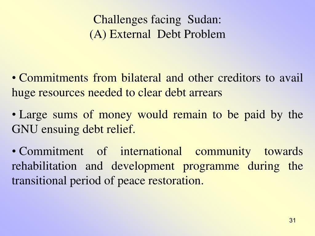Challenges facing  Sudan: