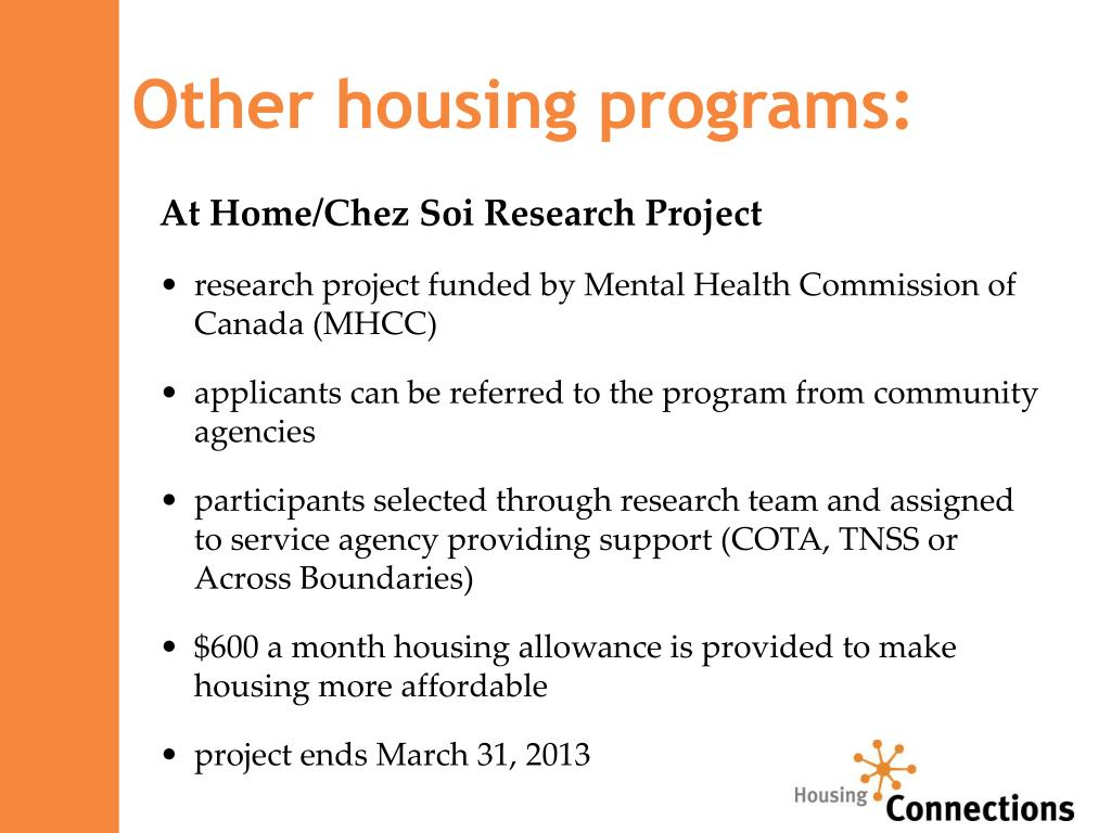 Other housing programs: