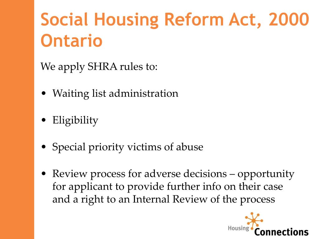 Social Housing Reform Act, 2000 Ontario