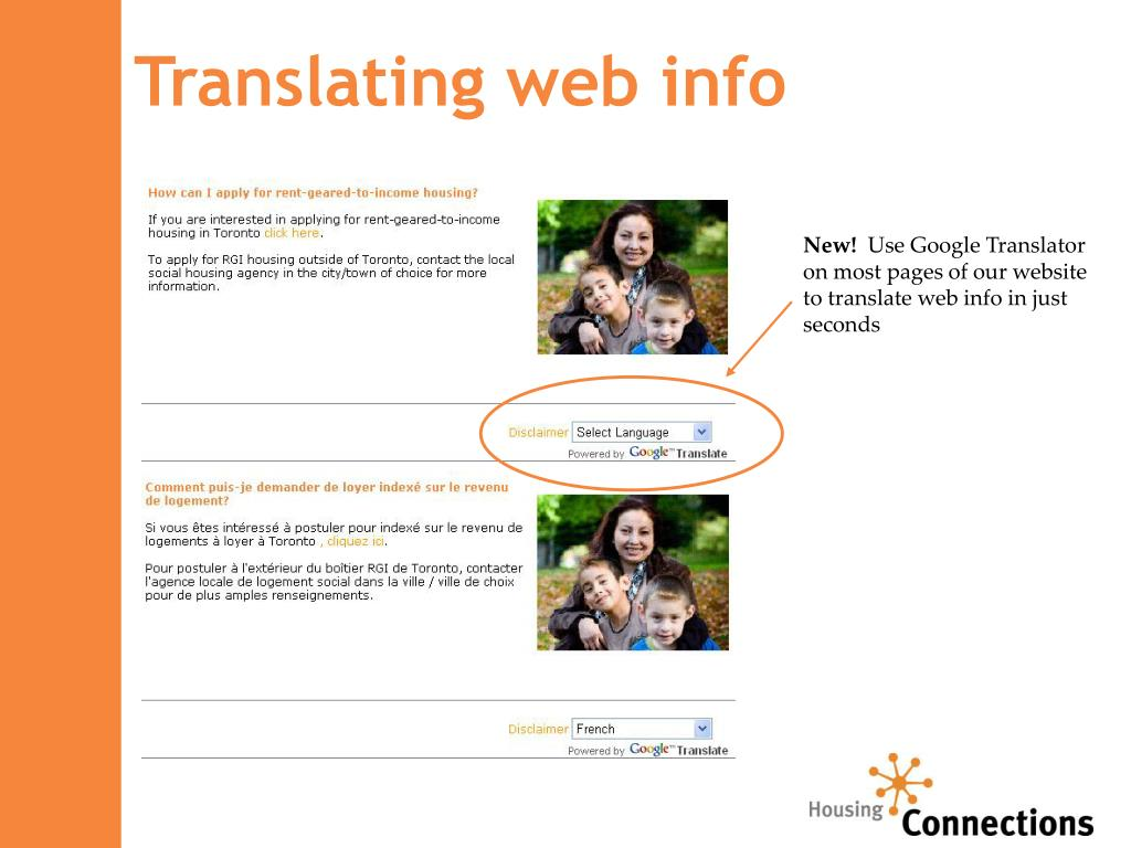 Translating web info
