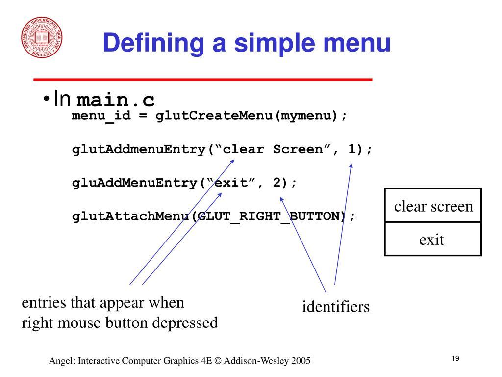 Defining a simple menu