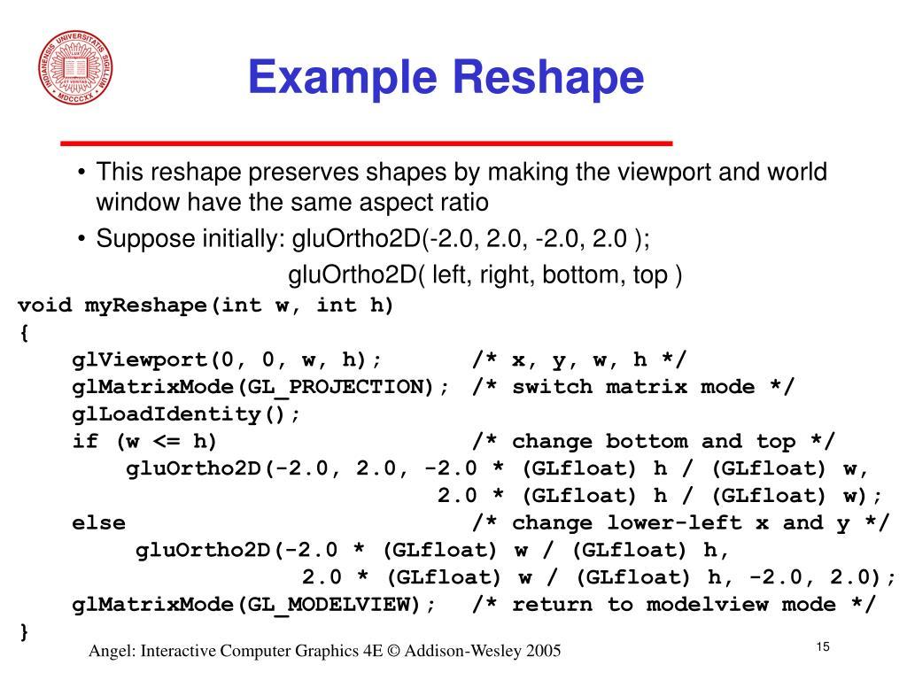 Example Reshape