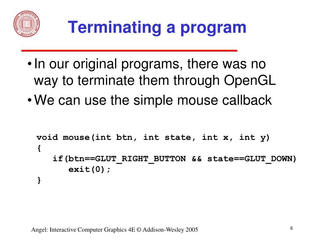Terminating a program
