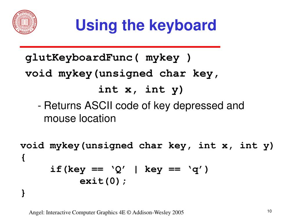 Using the keyboard