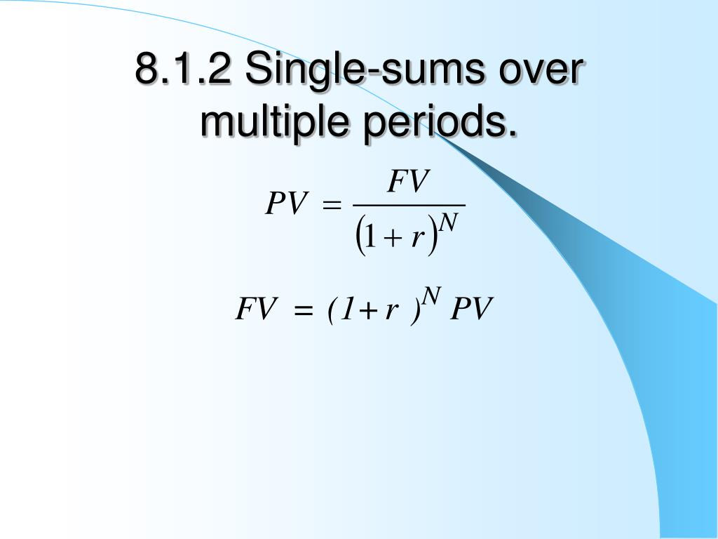 8.1.2 Single-sums over multiple periods.