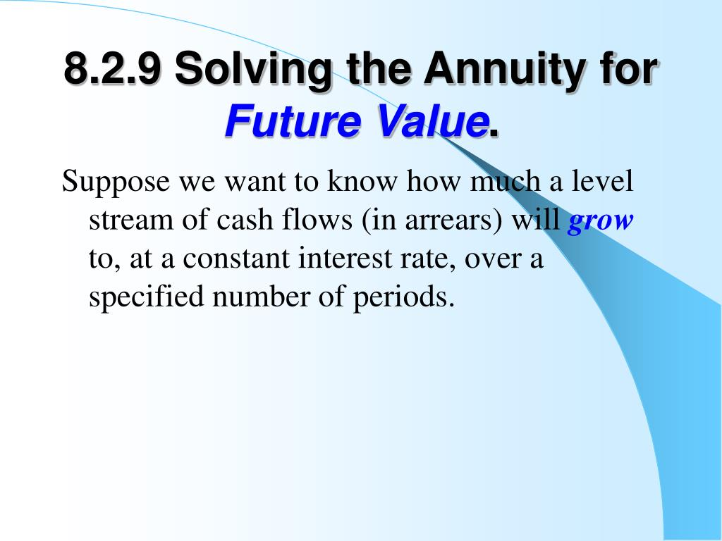 8.2.9 Solving the Annuity for