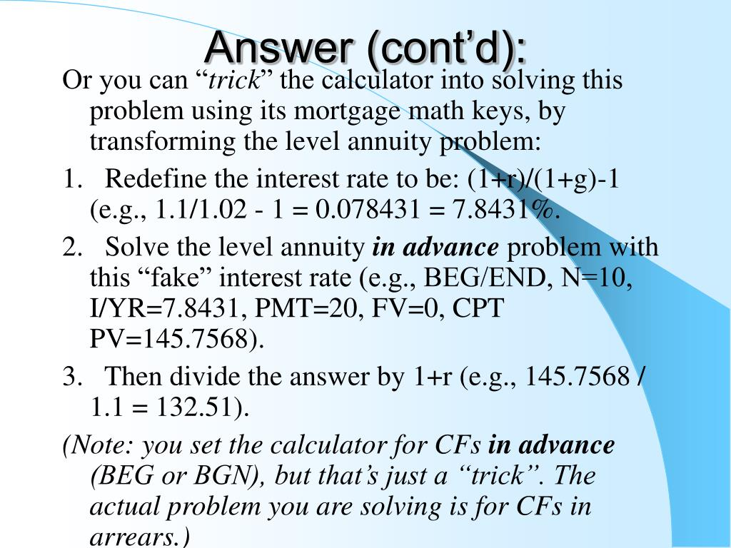 Answer (cont'd):