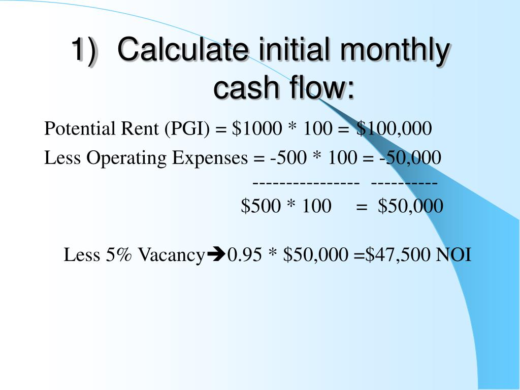 Calculate initial monthly cash flow:
