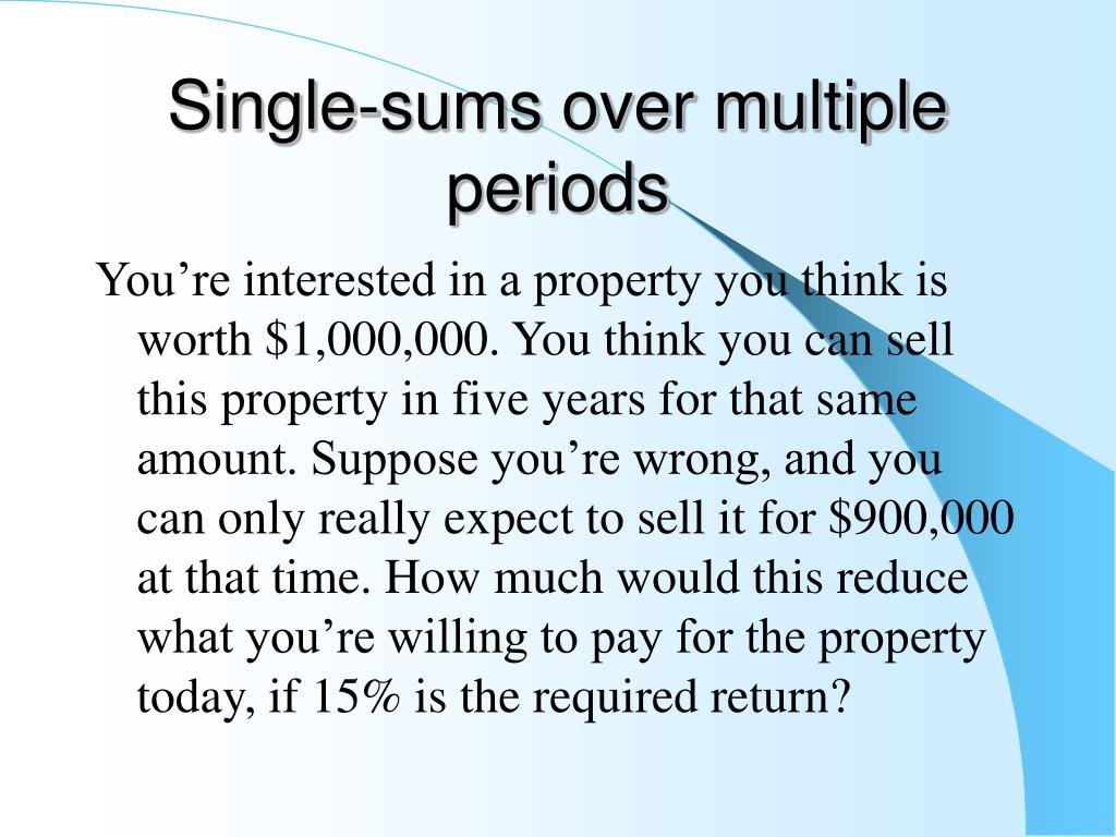 Single-sums over multiple periods
