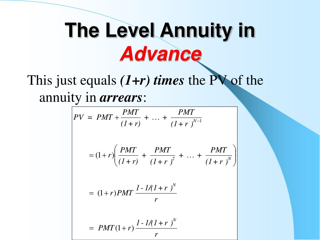The Level Annuity in