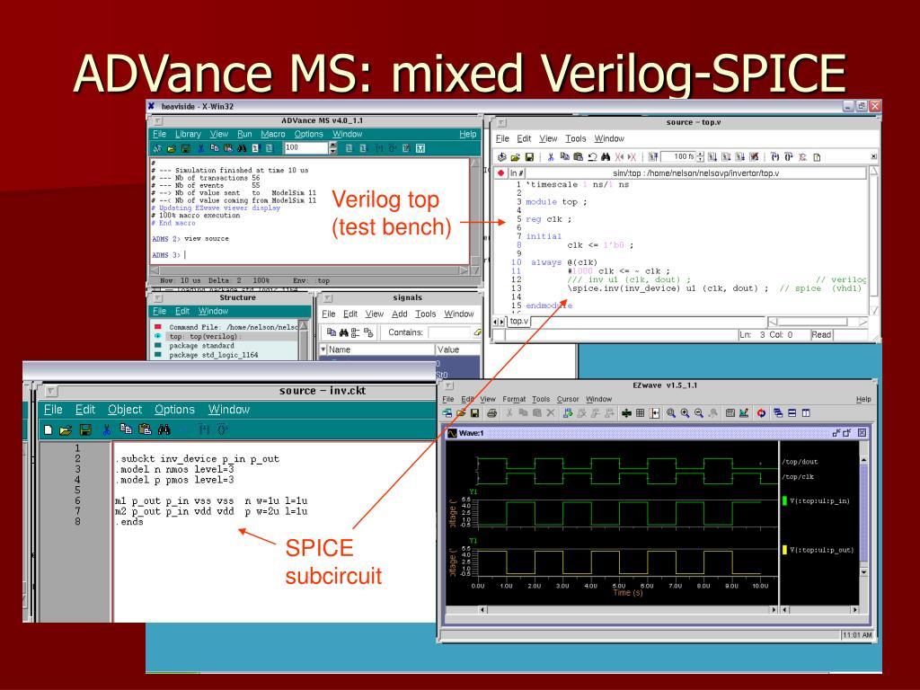 ADVance MS: mixed Verilog-SPICE