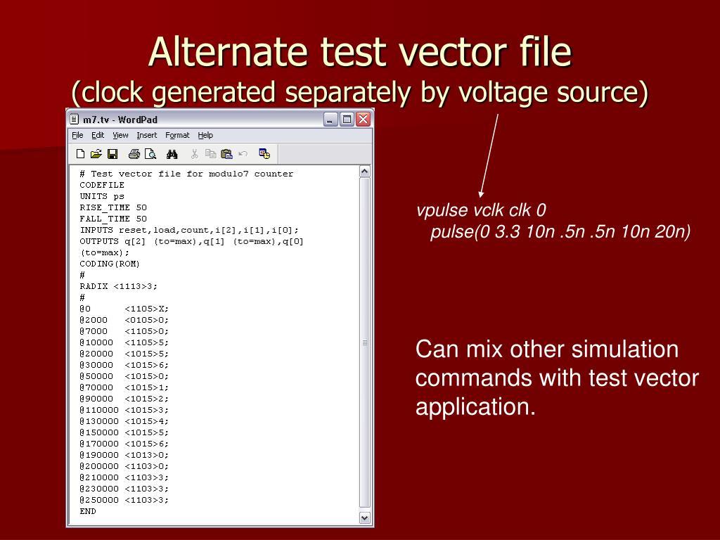 Alternate test vector file