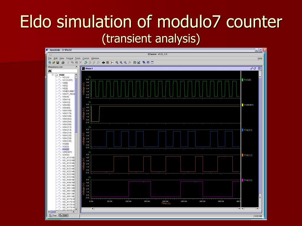 Eldo simulation of modulo7 counter