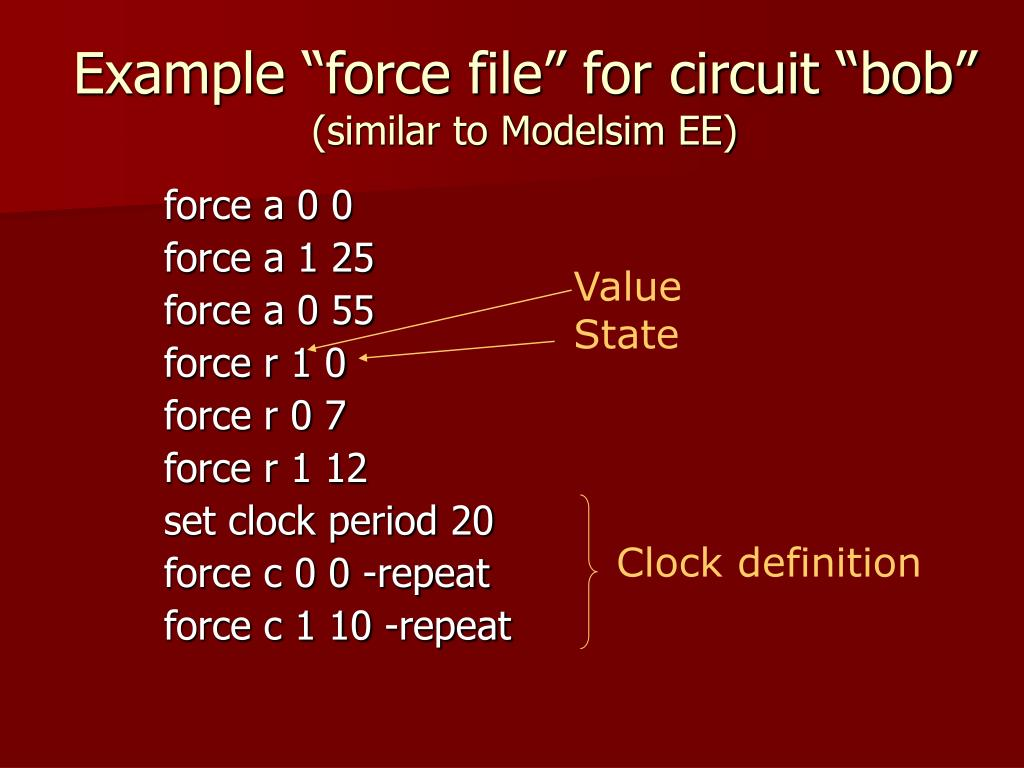 """Example """"force file"""" for circuit """"bob"""""""