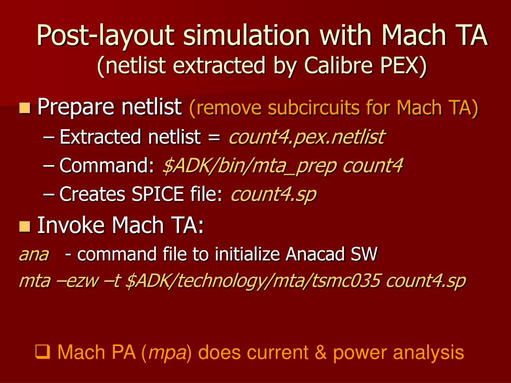 Post-layout simulation with Mach TA
