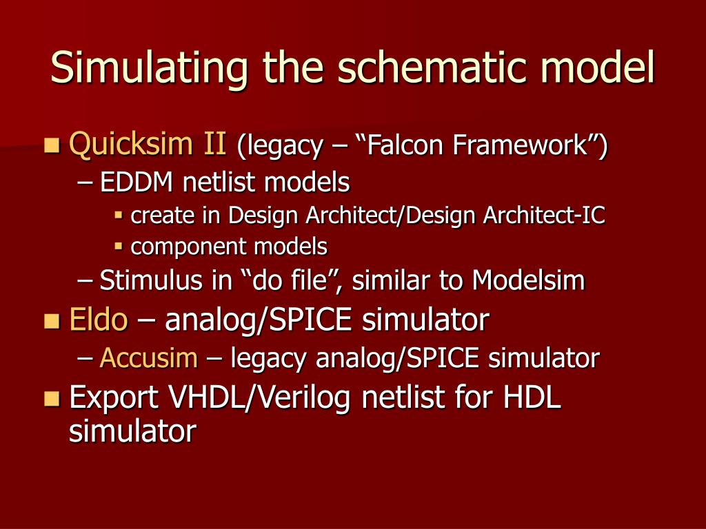 Simulating the schematic model
