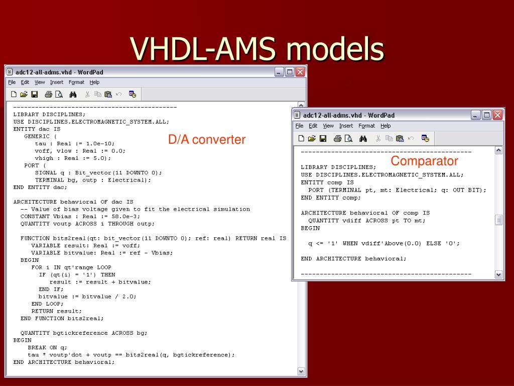 VHDL-AMS models