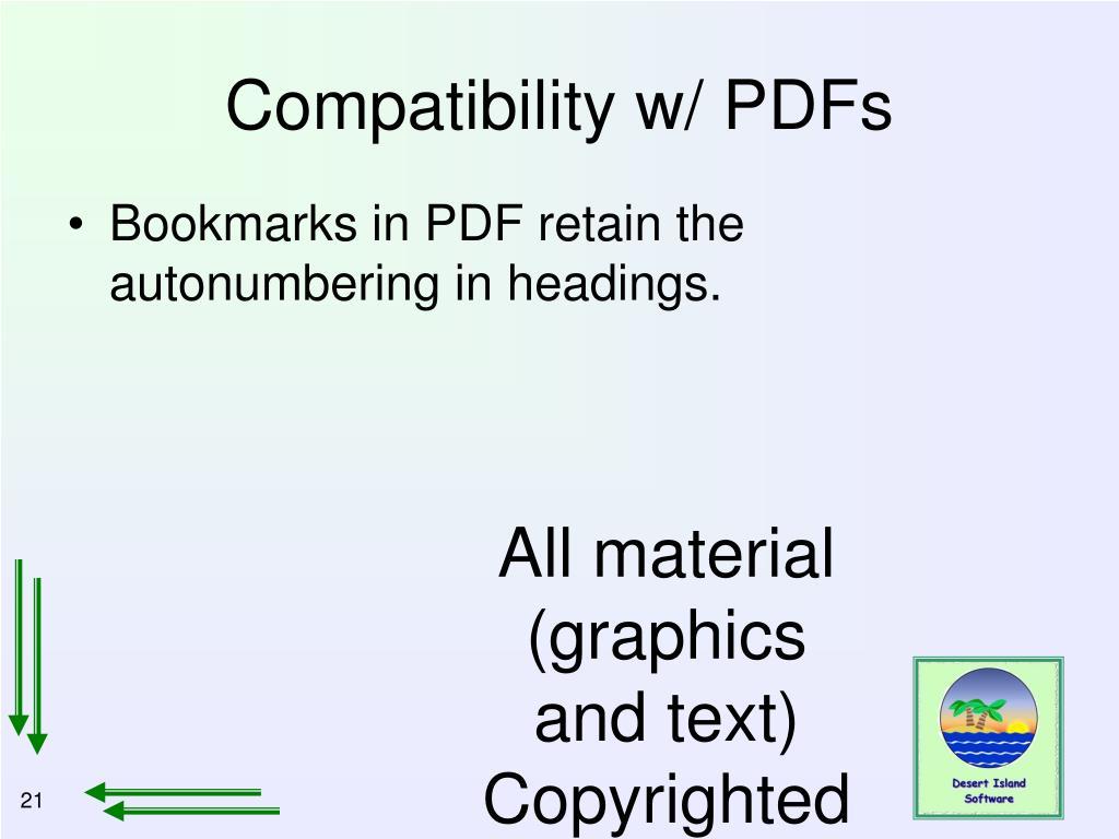 Compatibility w/ PDFs