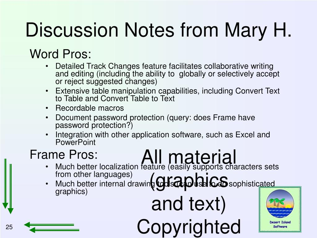 Discussion Notes from Mary H.
