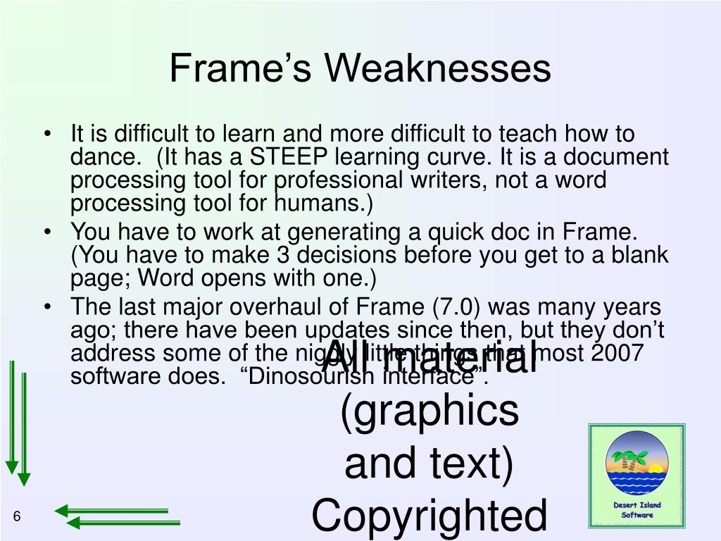 Frame's Weaknesses