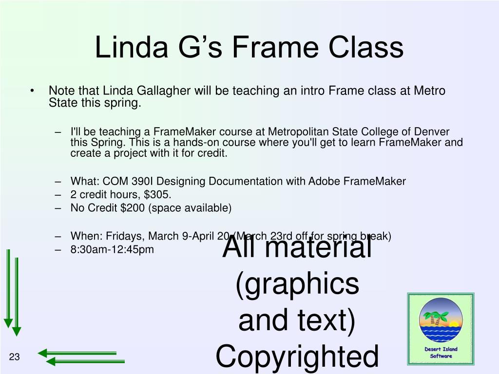 Linda G's Frame Class