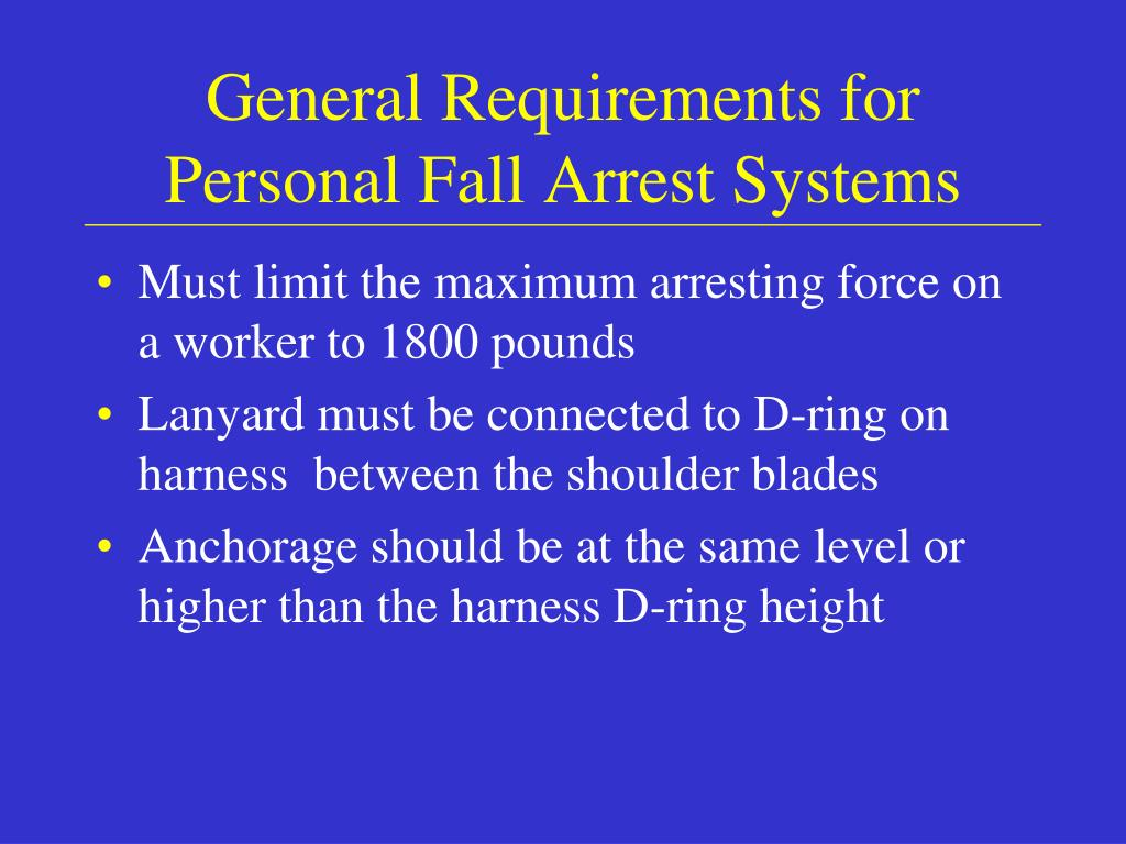 General Requirements for Personal Fall Arrest Systems