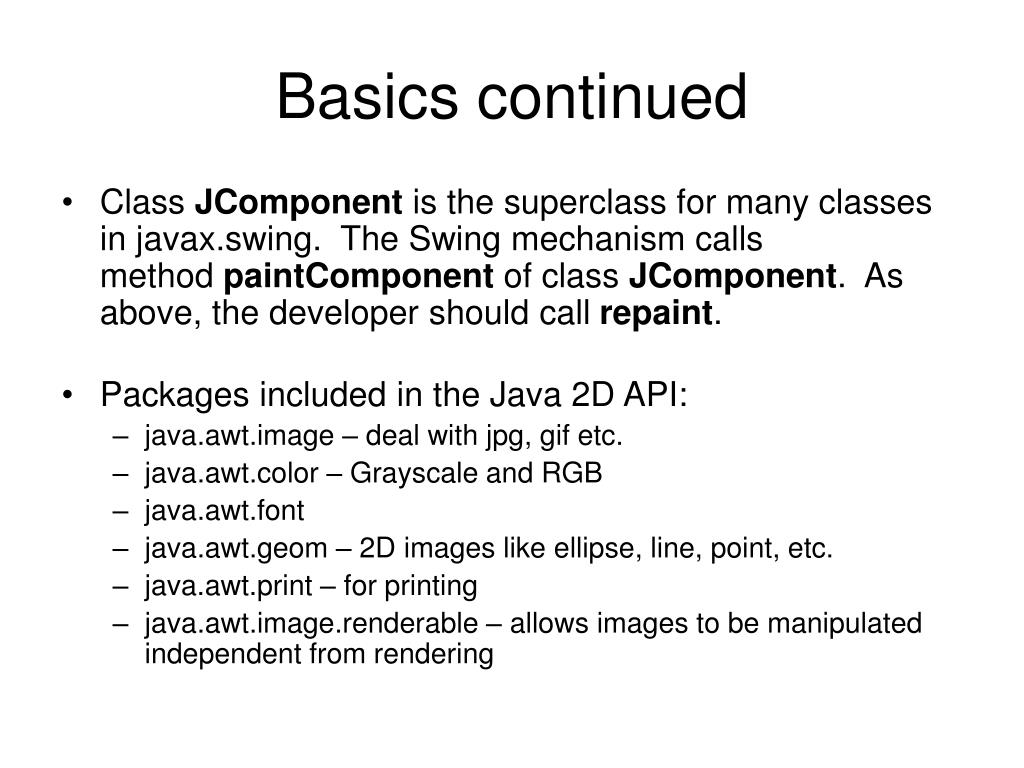 Basics continued