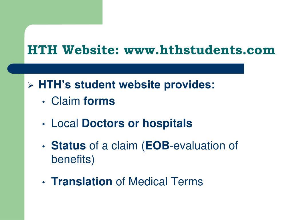 HTH Website: www.hthstudents.com