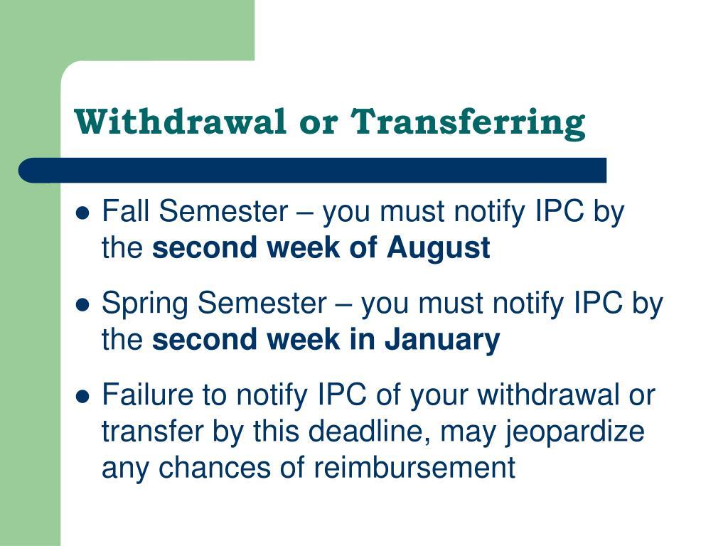 Withdrawal or Transferring