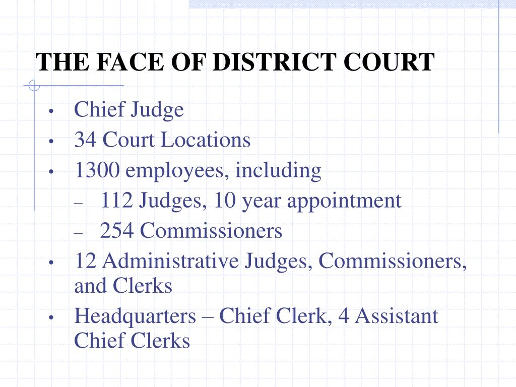 THE FACE OF DISTRICT COURT