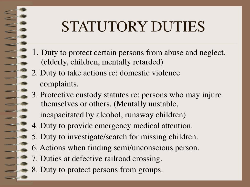 statutory duties Unit 7 statutory and common law duties of the employer 77 unit 7  statutory and common law duties of the employer  learning objectives  at the end of this unit, you should be able to.