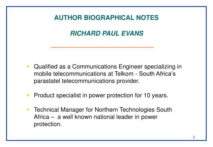 Author biographical notes richard paul evans