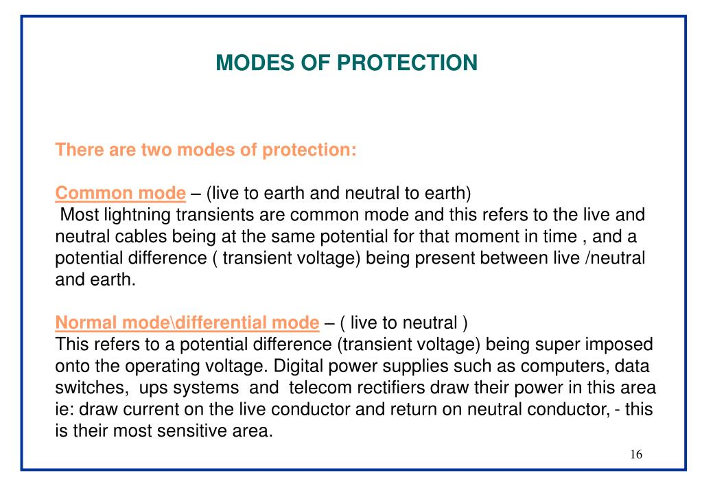 MODES OF PROTECTION