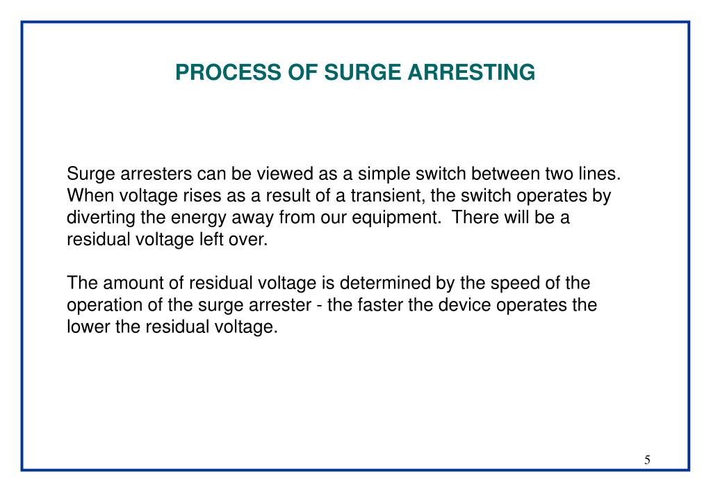 PROCESS OF SURGE ARRESTING