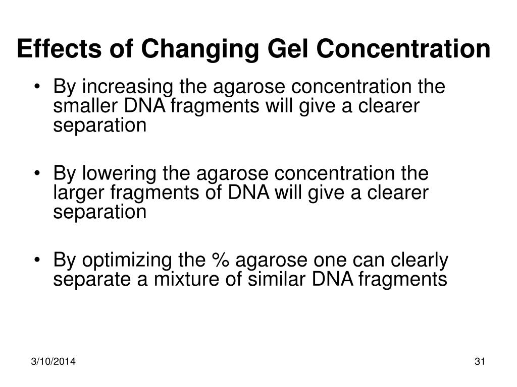 Effects of Changing Gel Concentration