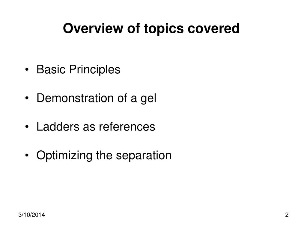 Overview of topics covered