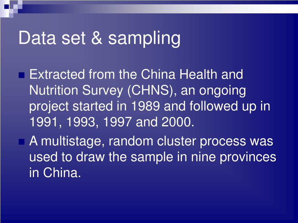 Data set & sampling