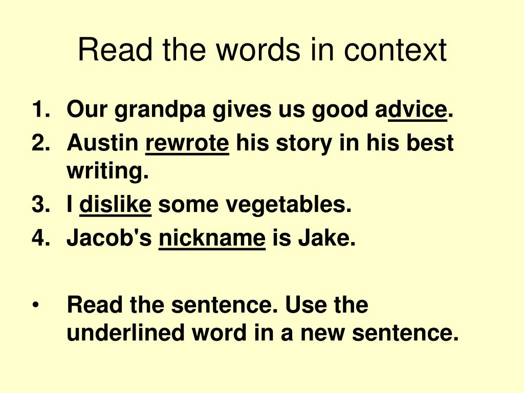 Read the words in context