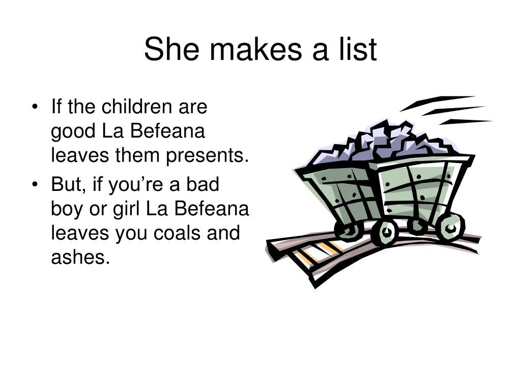 She makes a list