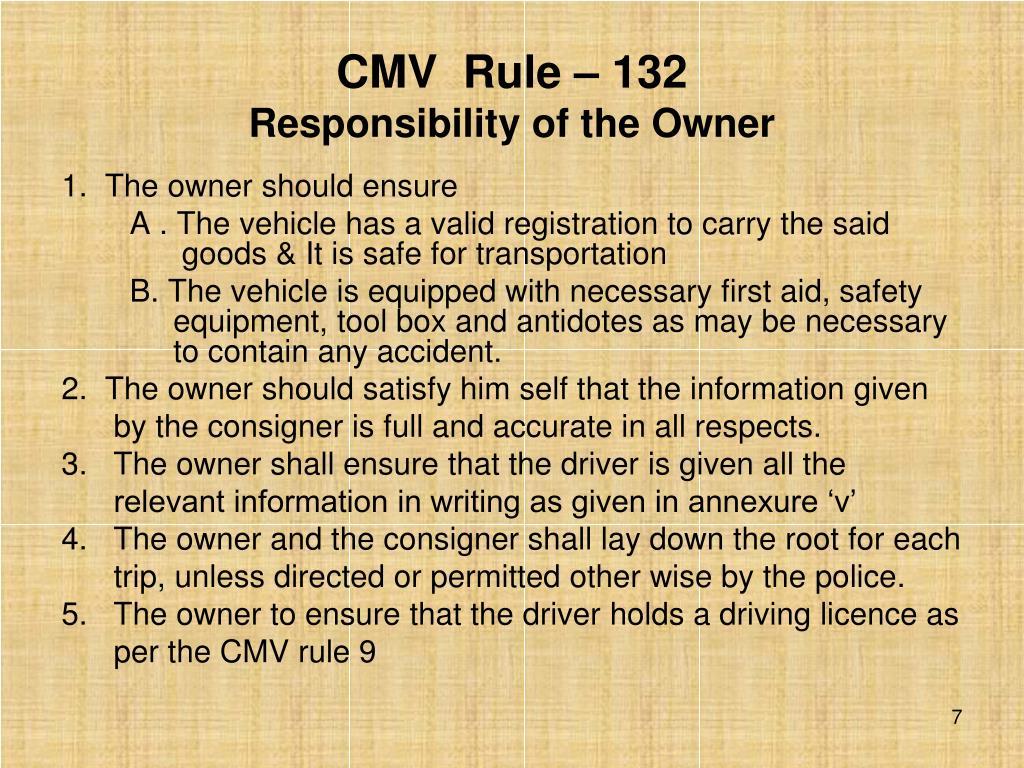 CMV  Rule – 132