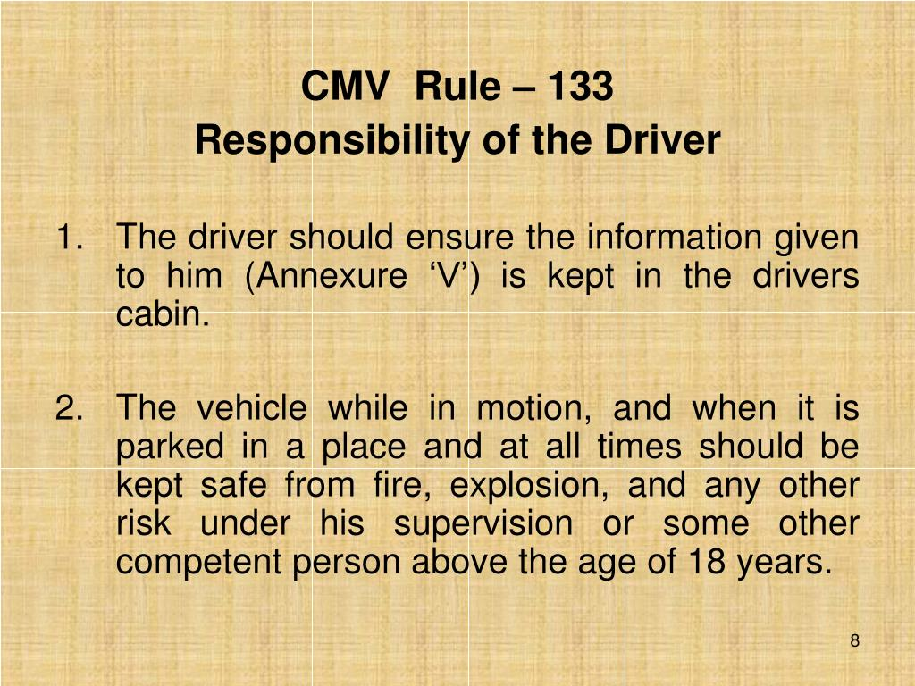 CMV  Rule – 133