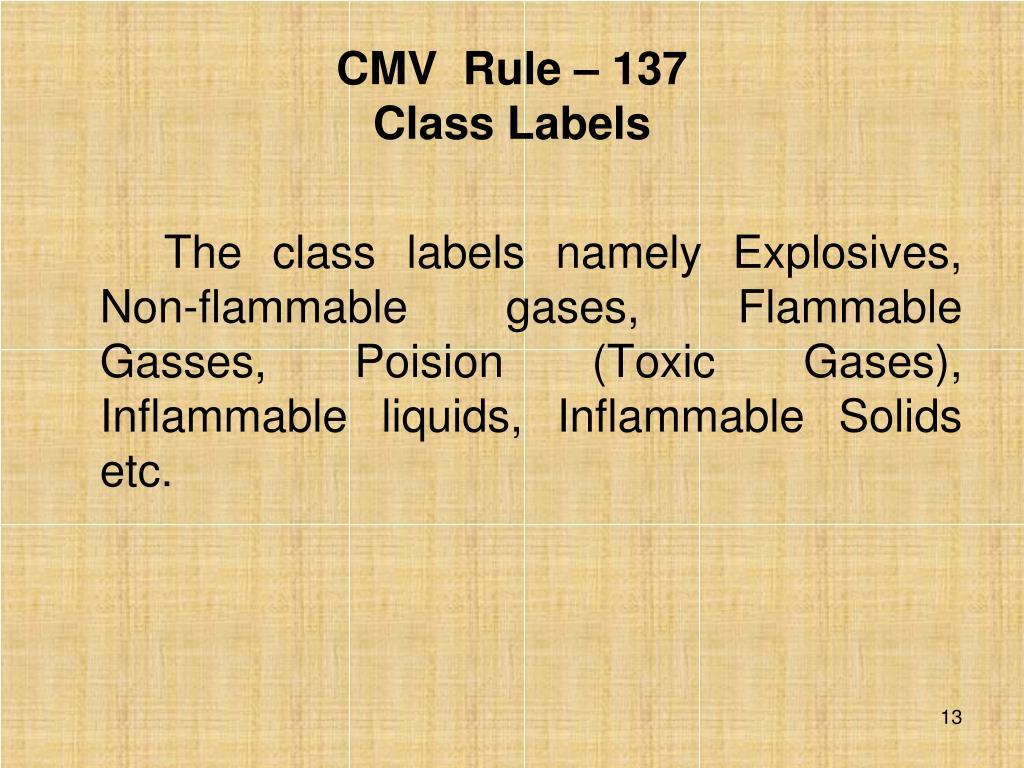 CMV  Rule – 137