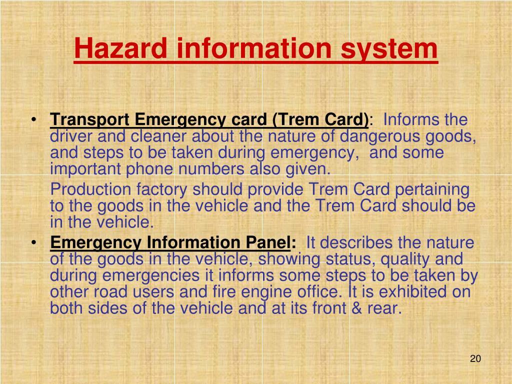 Hazard information system