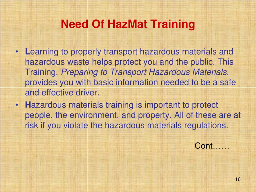 Need Of HazMat Training