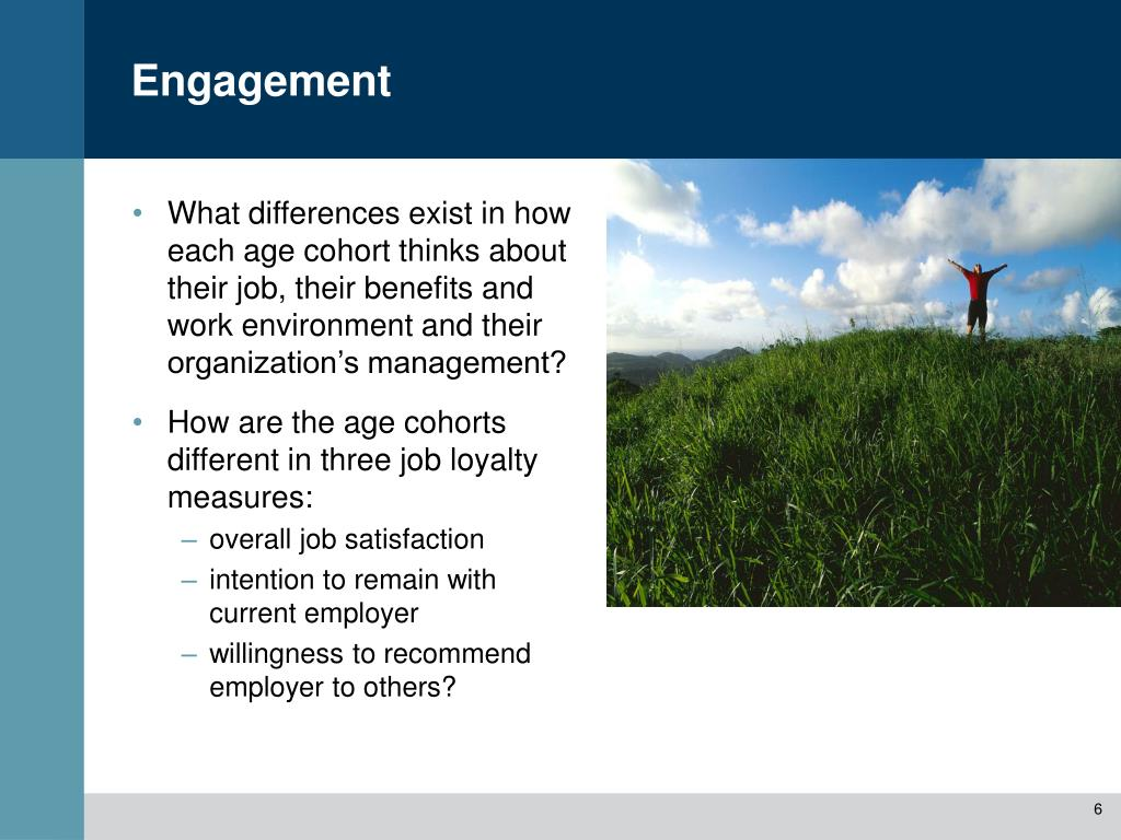 What differences exist in how each age cohort thinks about their job, their benefits and work environment and their organization's management?