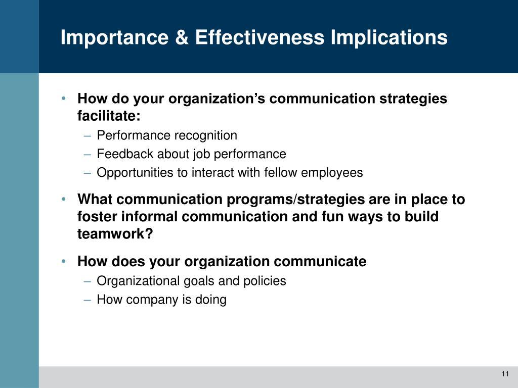 Importance & Effectiveness Implications