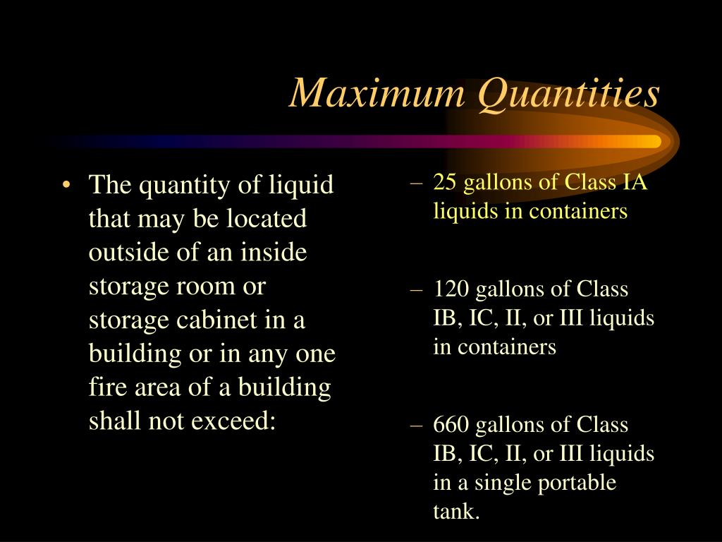The quantity of liquid that may be located outside of an inside storage room or storage cabinet in a building or in any one fire area of a building shall not exceed:
