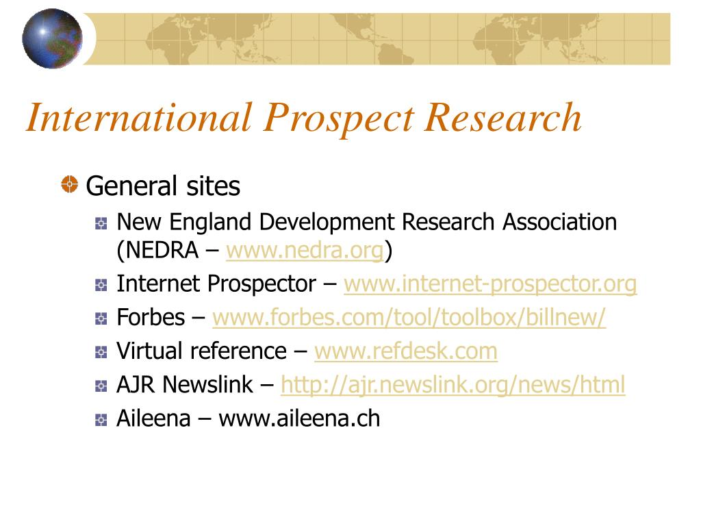 International Prospect Research