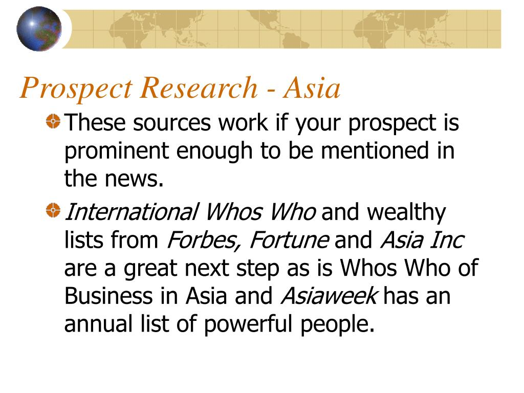 Prospect Research - Asia